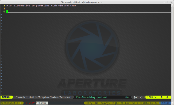 Tmux configured and vim-airline running, as I write this post in Vim